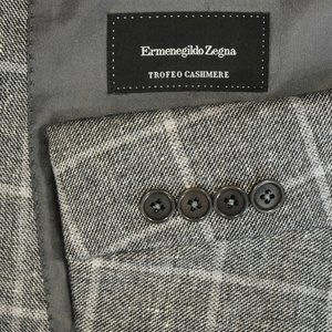 NEW $2195 48R Ermenegildo Zegna Gray Plaid blazer